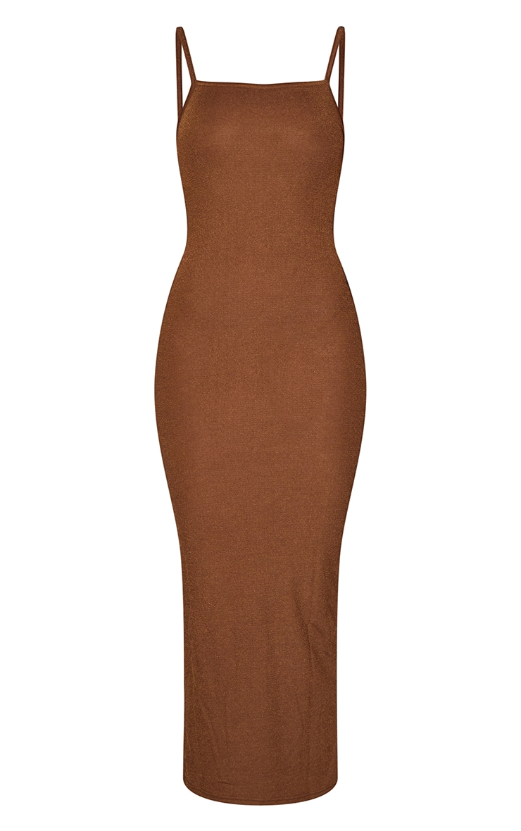 Tall Chocolate Strappy Midi Dress 5