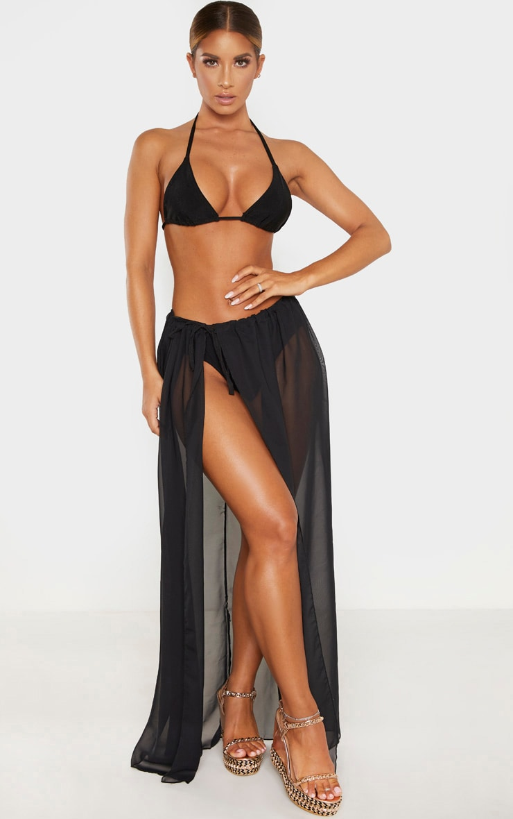Black Adjustable Maxi Beach Skirt 1