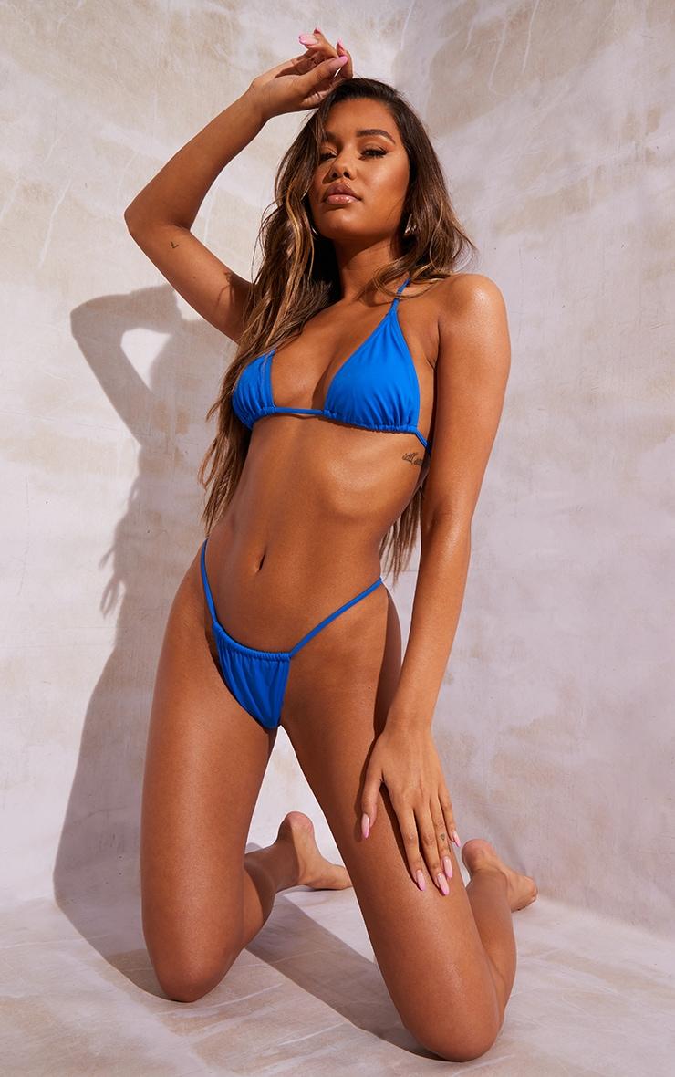Bright Blue Recycled Fabric Mix & Match Mini Triangle Bikini Top 3