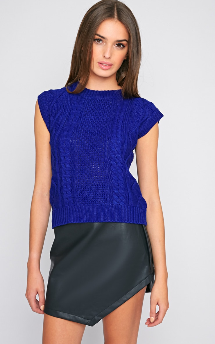 Cher Blue Knitted Sleeveless Jumper 1