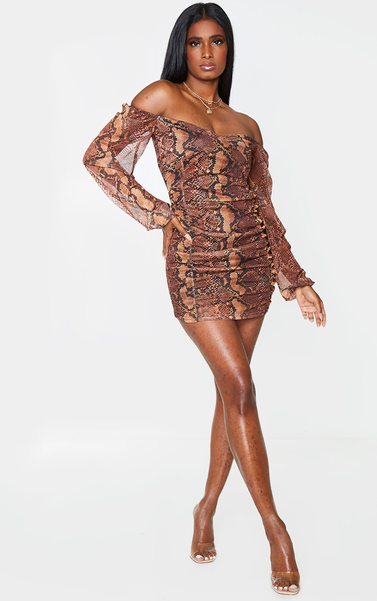 Brown Snake Print Mesh Double Ruched Long Sleeve Bodycon Dress 3