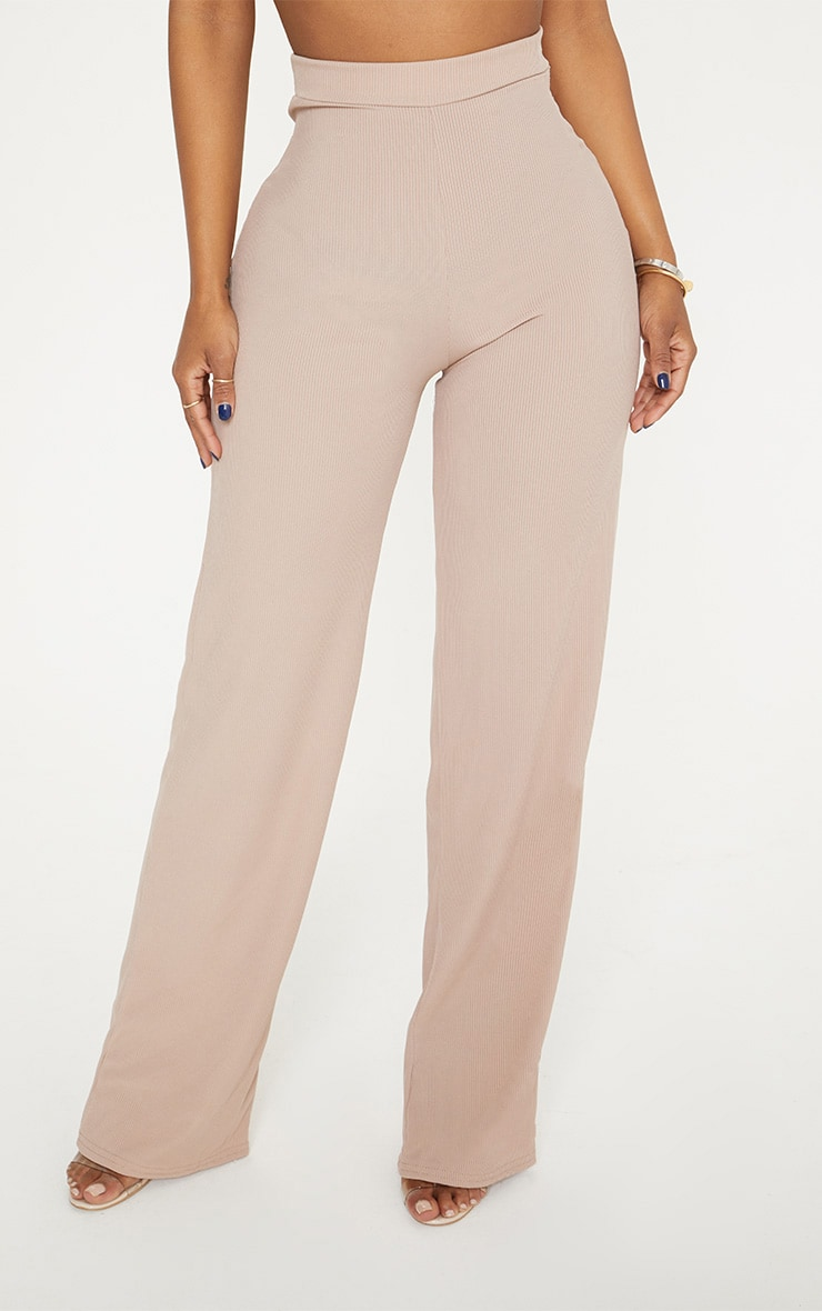 Shape Stone Ribbed High Waist Wide Leg Trousers 2
