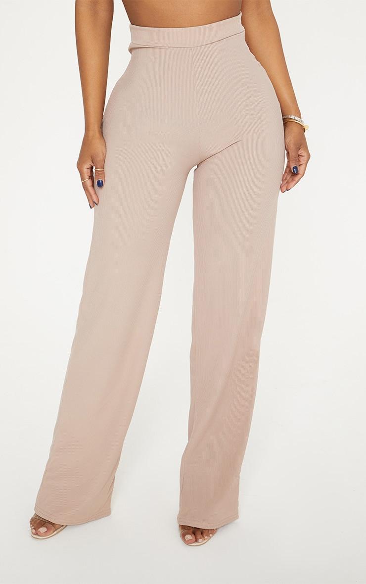 Shape Stone Ribbed High Waist Wide Leg Trousers 2