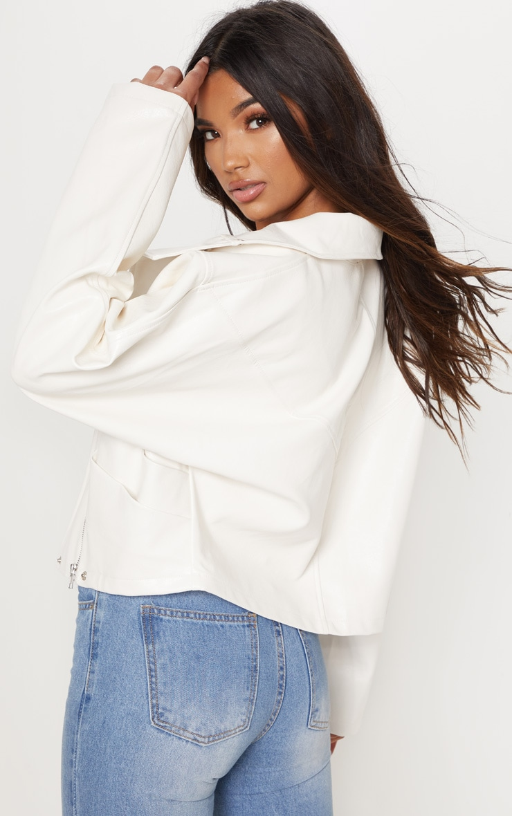 Cream Oversized PU Bomber  2