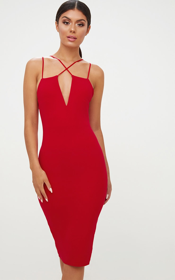 Red Cross Front Strappy Back Plunge Front Midi Dress 2