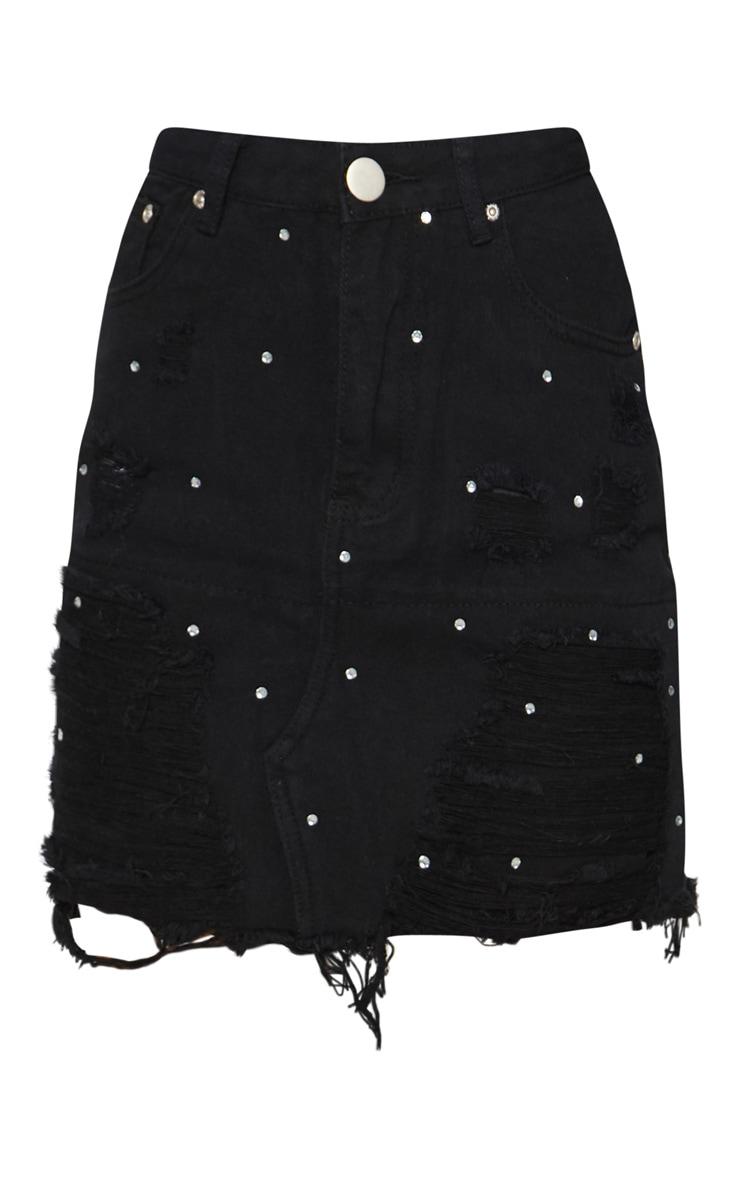 Black Ripped Diamante Denim Skirt 3