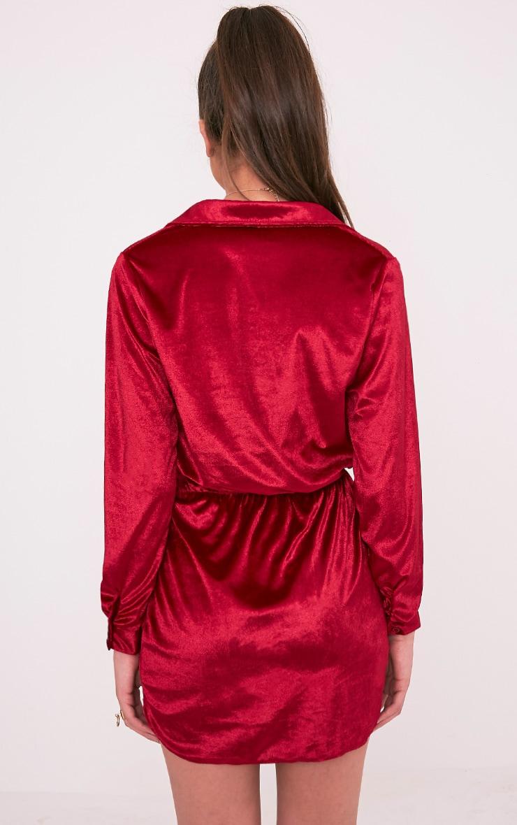 Kaliah Burgundy Velvet Twist Front Shift Dress 2