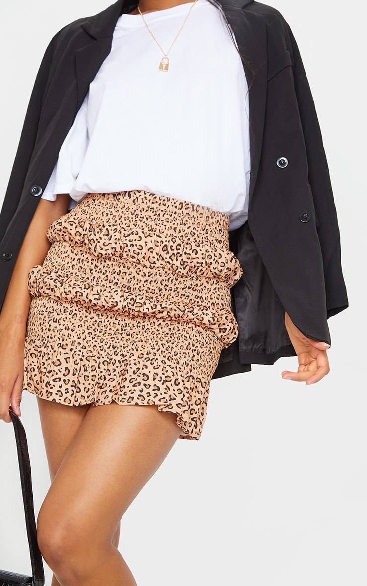Tan Leopard Tiered Frill Mini Skirt 5