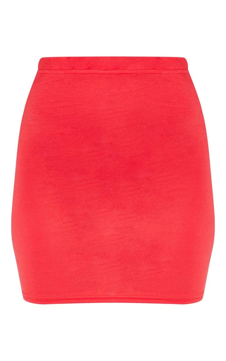 Basic Red Jersey Mini Skirt 3