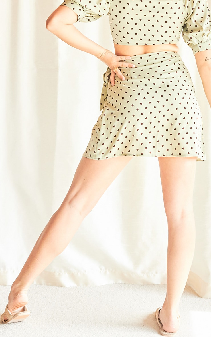 Sage Green Polka Print Wrap Detail Mini Skirt 3