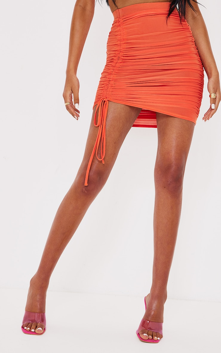 Tall  Orange Ruched Side Bodycon Skirt 2