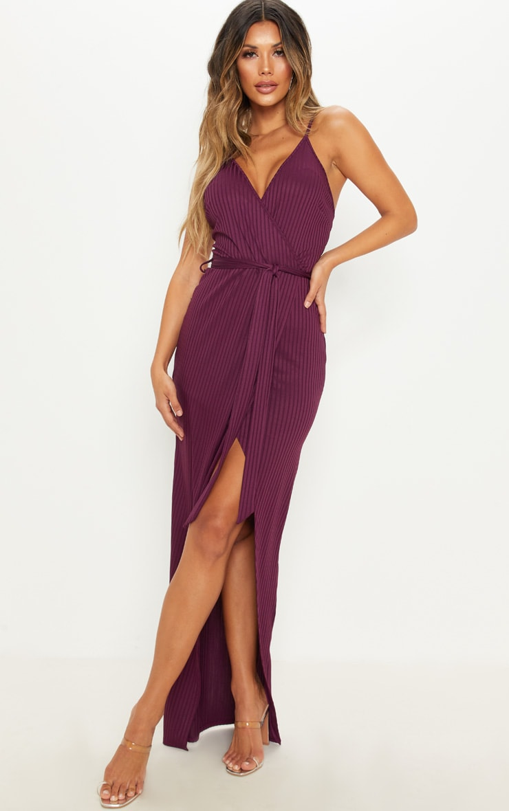 Plum Ribbed Wrap Maxi Dress 1