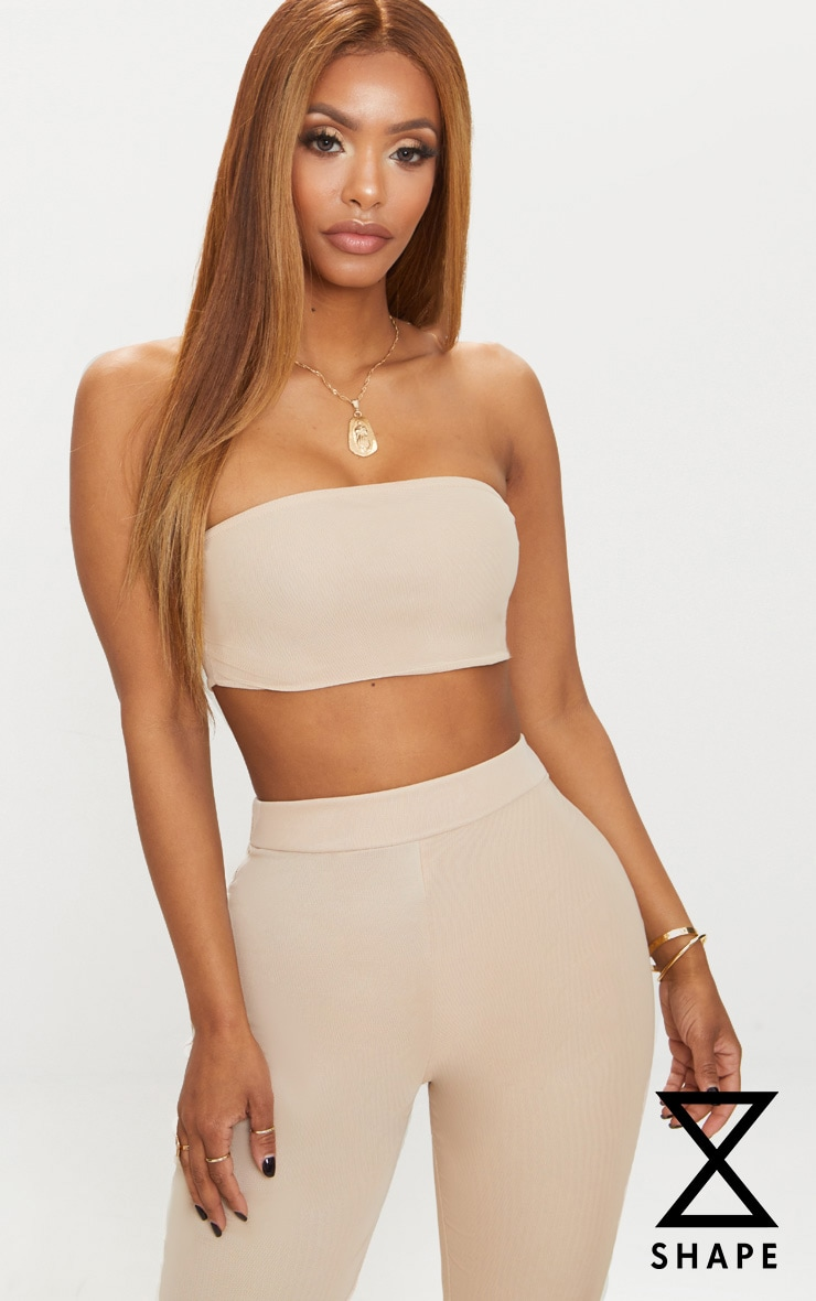 Shape - Crop top bandeau en mesh nude