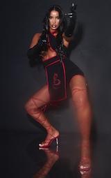Black Halterneck Red Binding Ninja Romper 1
