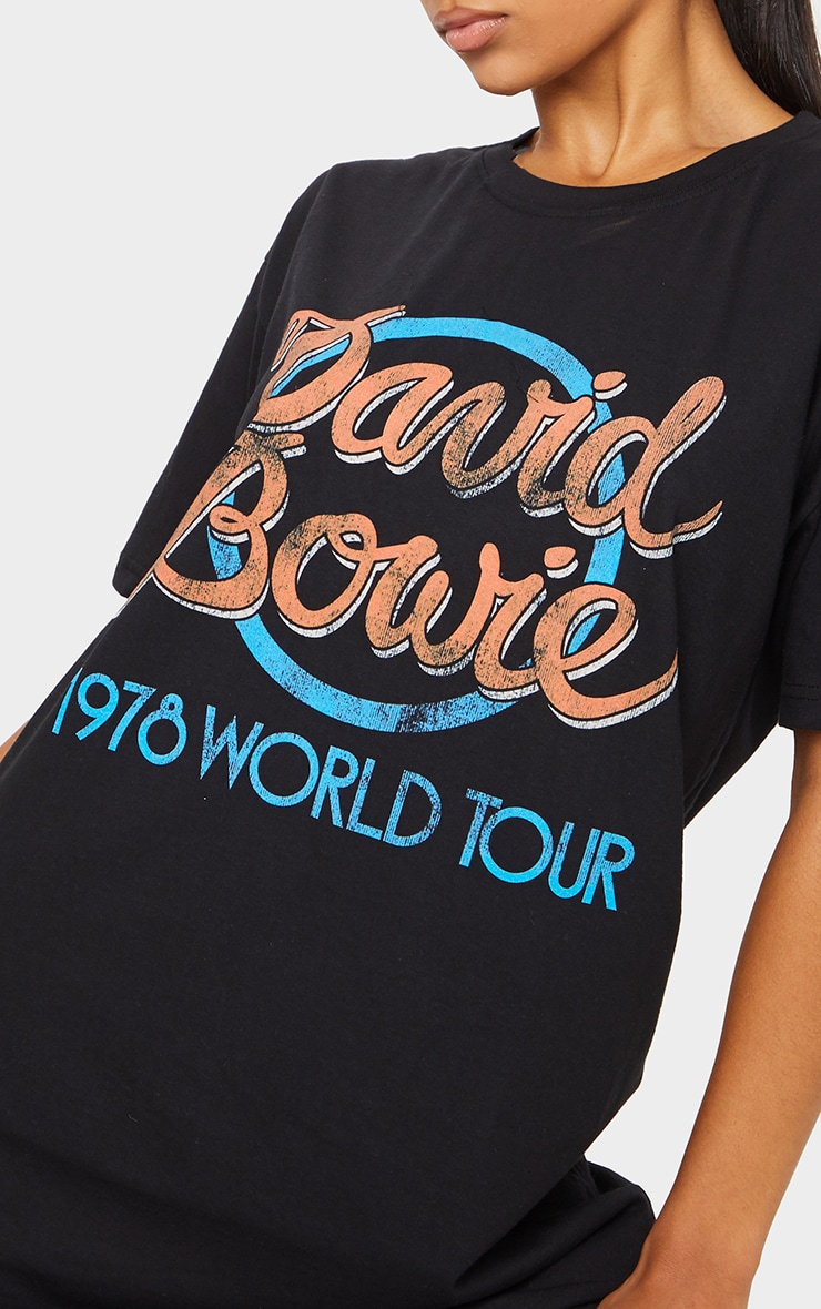 Black David Bowie Slogan T Shirt Dress 3