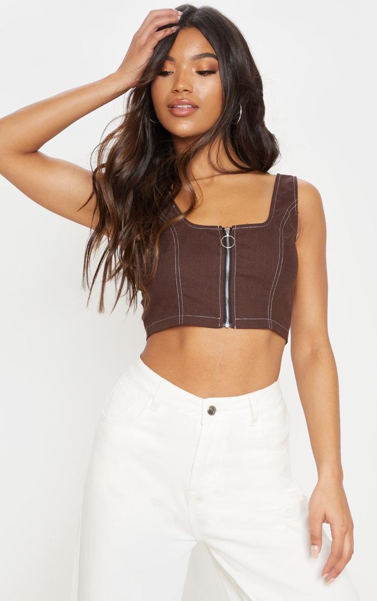 Crop top marron chocolat à zip et coutures contrastantes 1