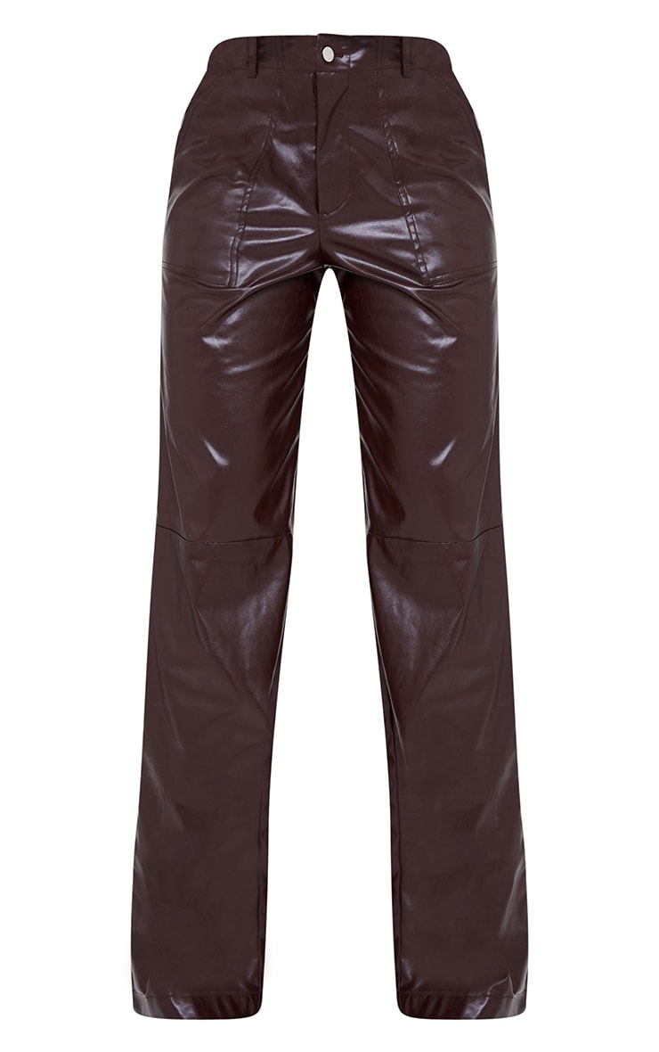 Chocolate Faux Leather Stitch Detail Wide Leg Trousers 5