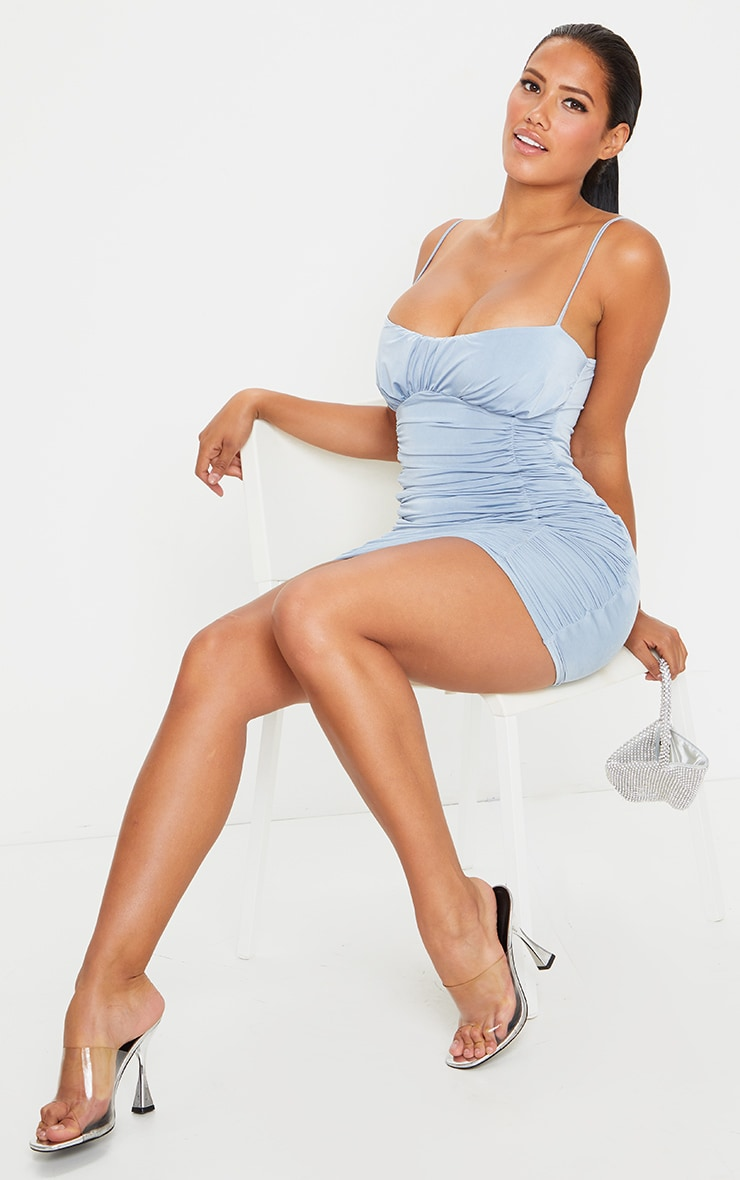 Shape Dusty Blue Slinky Extreme Ruched Bodycon Dress 3