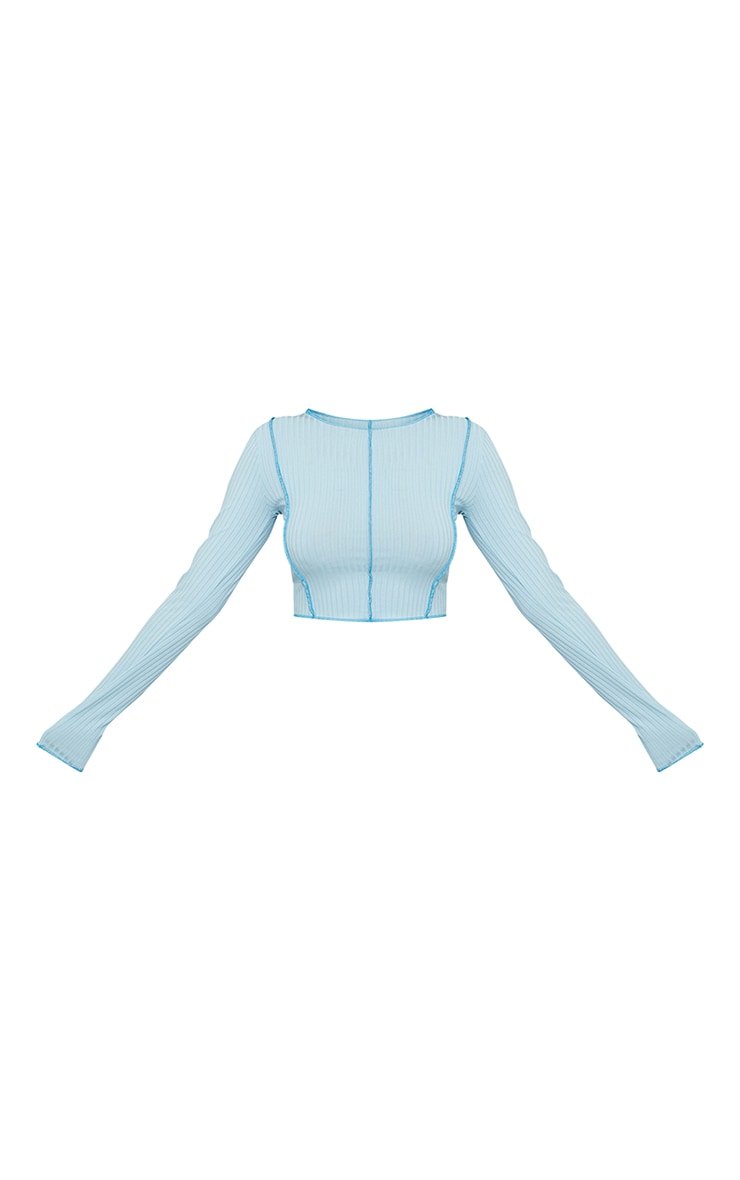 Baby Blue Rib Contrast Seam Long Sleeve Crop Top 5