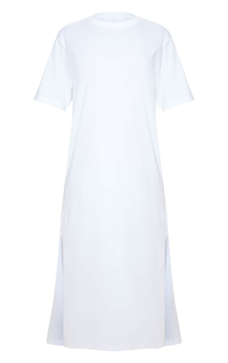 White Split Side Midi T Shirt Dress 3