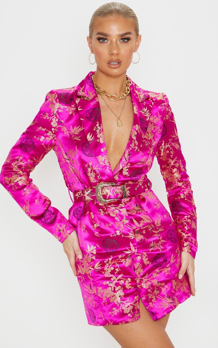 Fuchsia Jacquard Long Sleeve Belt Detail Blazer Dress