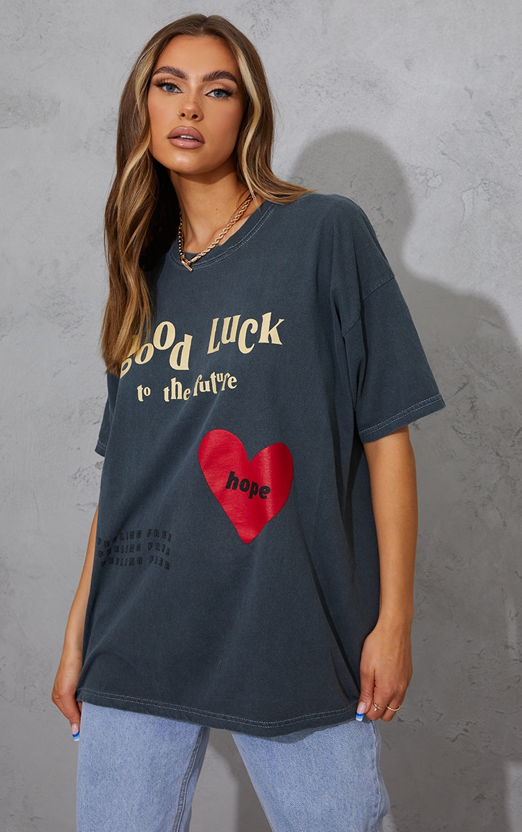 Charcoal Good Luck Heart Print Washed T Shirt 1
