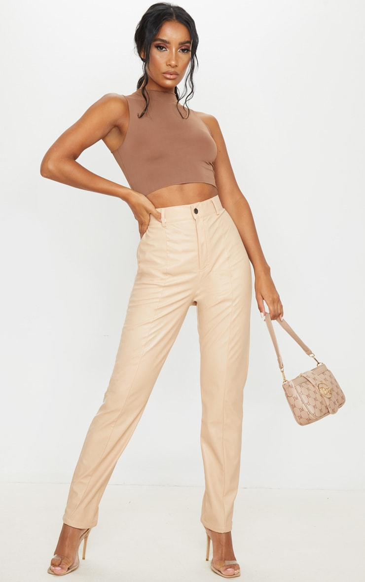 Nude Faux Leather Pintuck Skinny Trousers 1