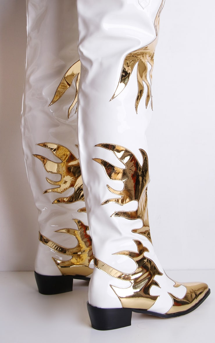 White Patent Gold Flame Thigh High Western Boots 3