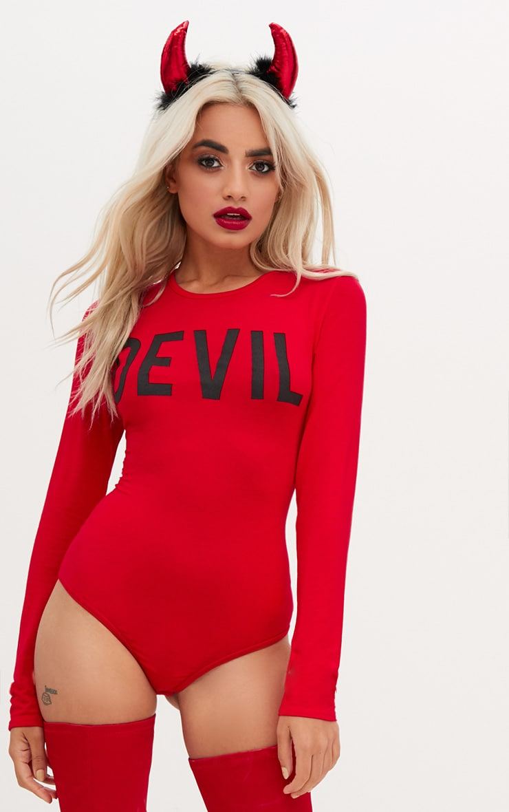 Red Devil Horns Slogan Jersey Thong Bodysuit 1