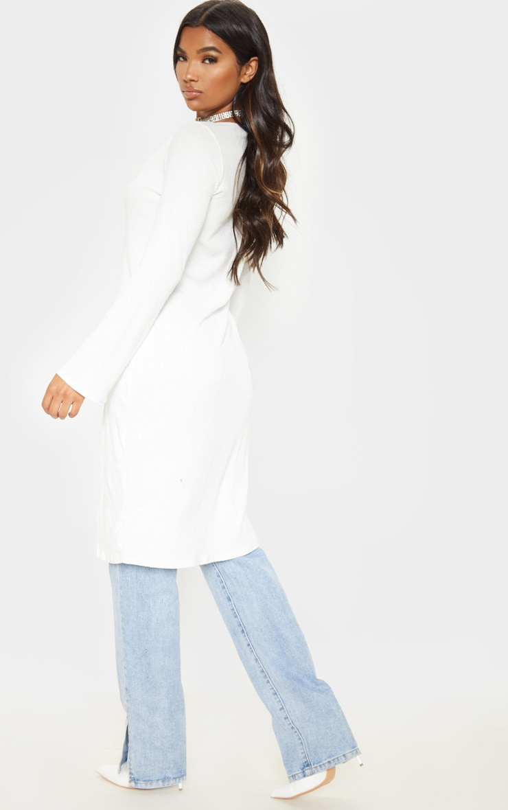 White Brushed Rib Button Long Sleeve Longline Top 2
