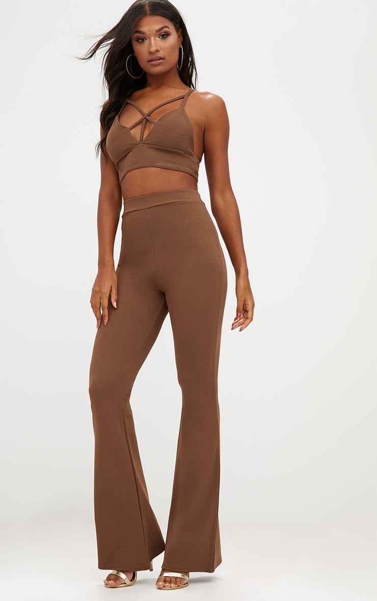 Chocolate Brown Strappy Front Crop Top 4