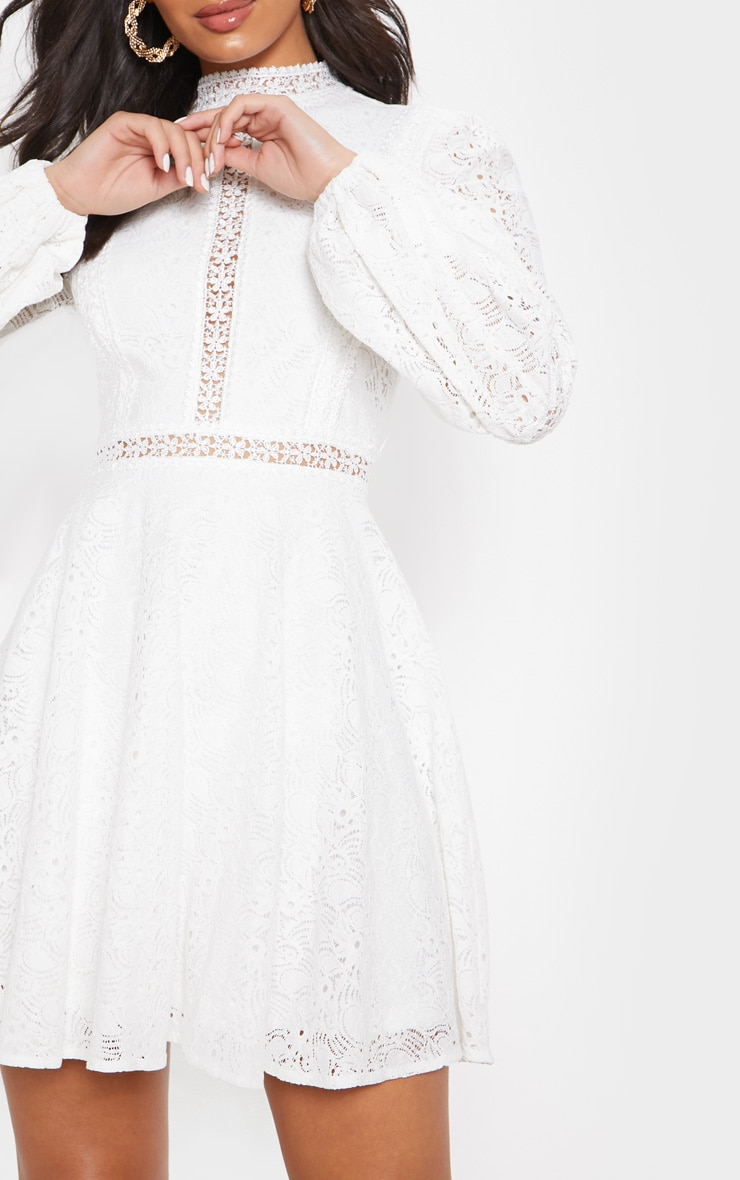 White Lace Long Sleeve Skater Dress 5
