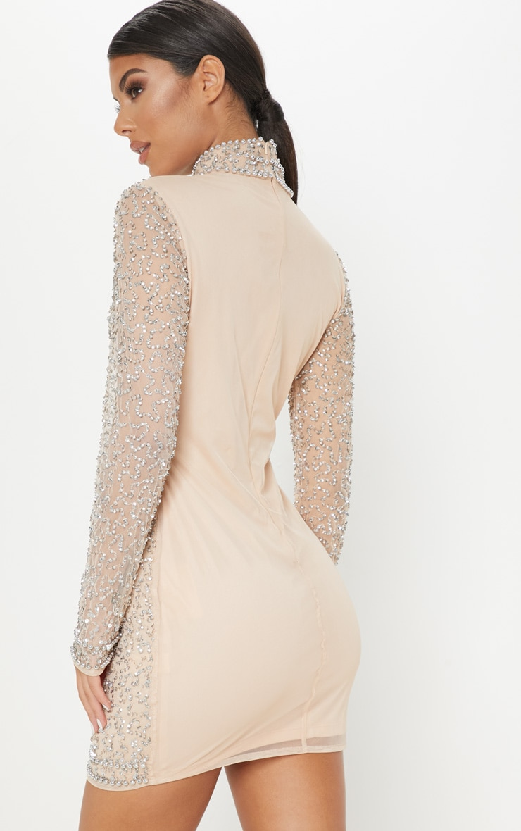 Nude Sequin Embellished High Neck Bodycon Dress 2
