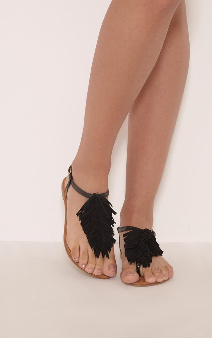 Meghanne Black Fringe Sandals 1