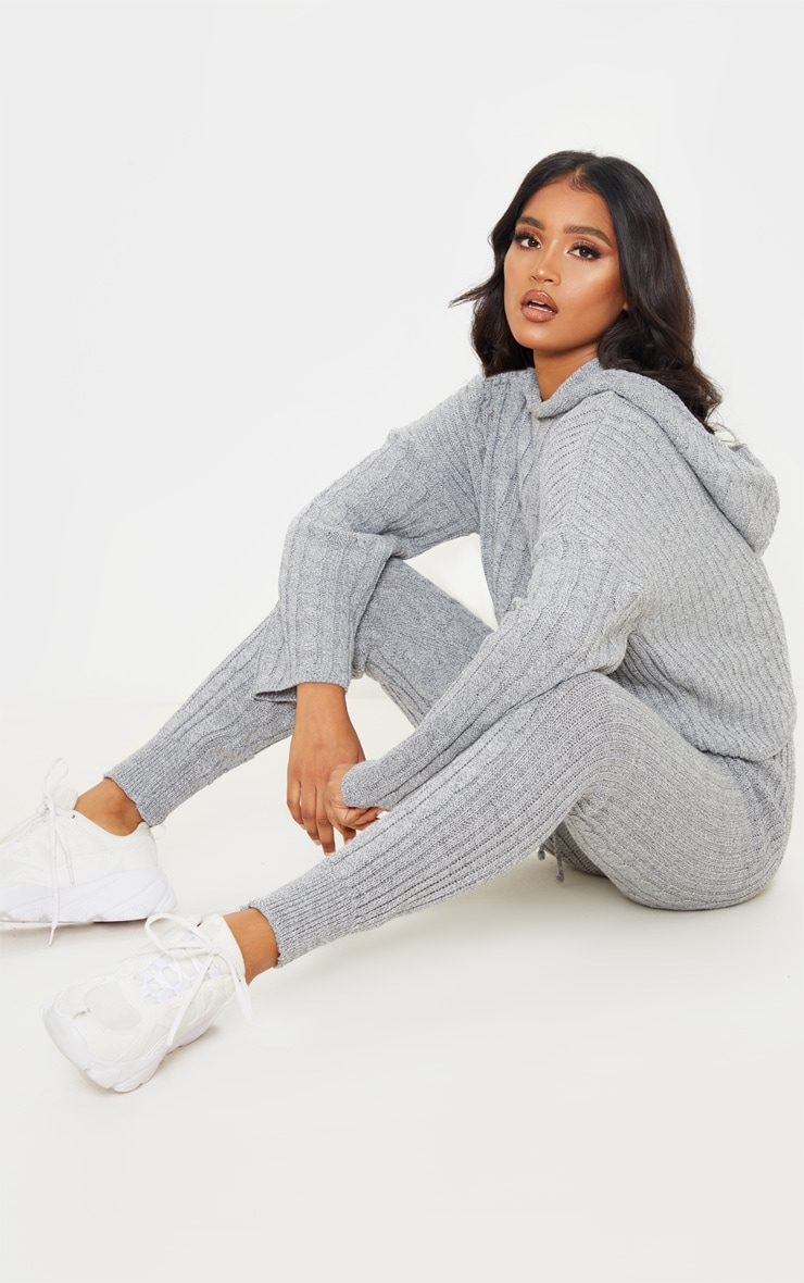 Grey Cable Knitted Hooded Lounge Set 4