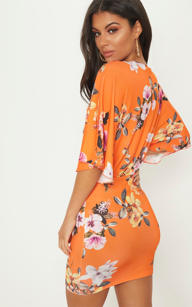Orange Floral Batwing Bodycon Dress 2