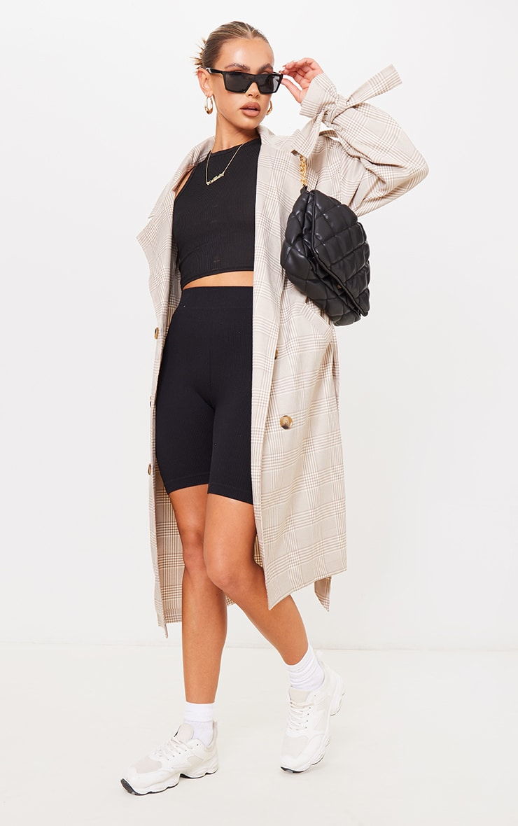 Stone Checked Woven Drop Shoulder Belted Trench 3