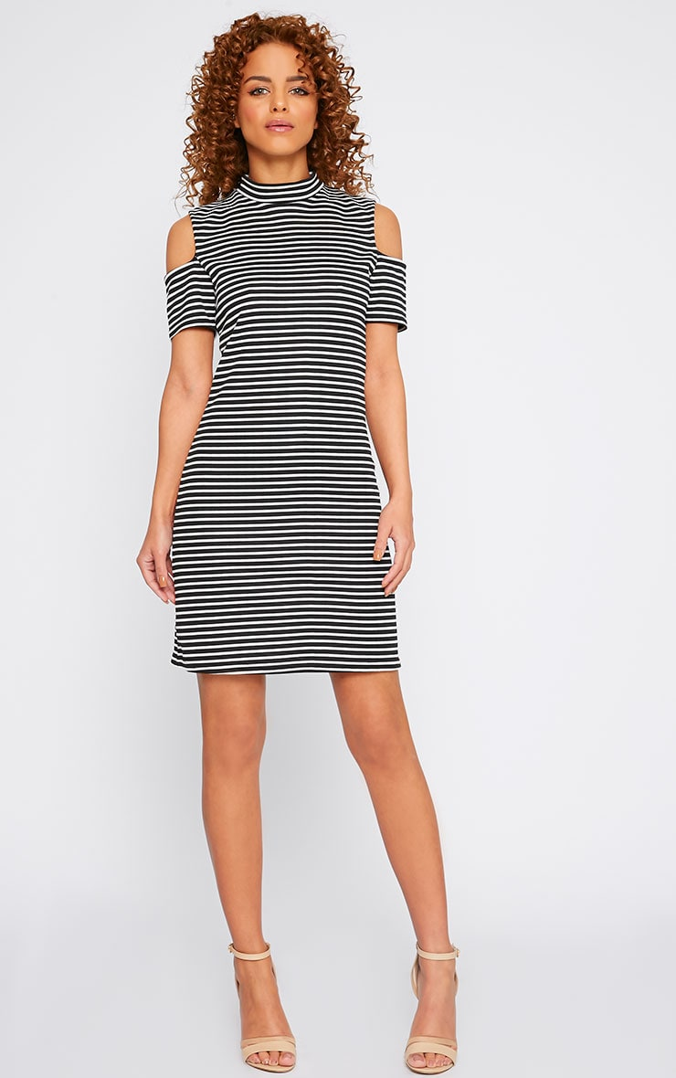 Rosa Monochrome Stripe High Neck Cut Out Mini Dress 3