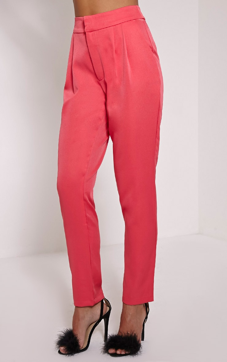 Floss Pink High Waisted Tapered Trousers 4