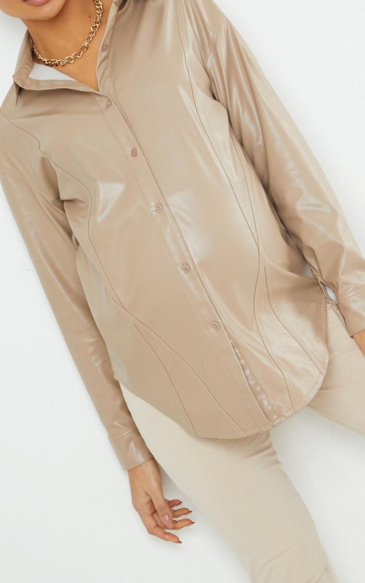 Maternity Stone Bump Seam Detail Faux Leather Shirt 4