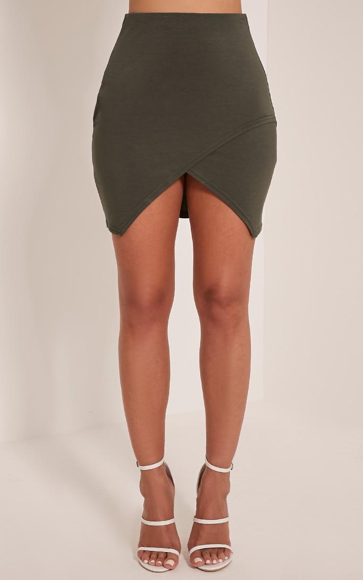 Myla Khaki Wrap Mini Skirt 2