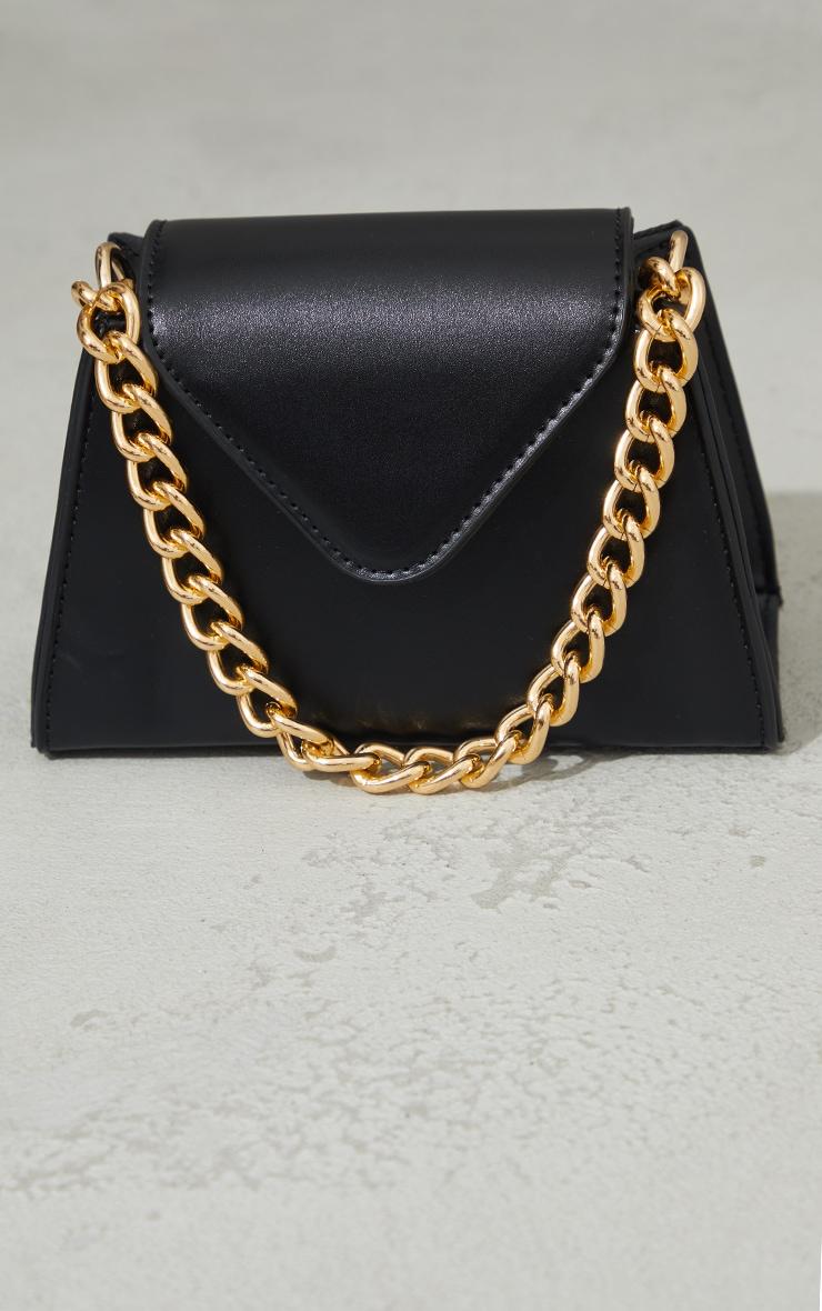 Black Mini Envelope Gold Chain Grab Bag 2