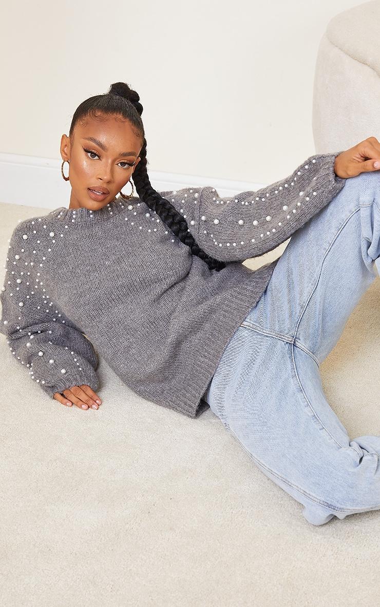 Grey Embellished Sleeve Turtle Neck Sweater 3