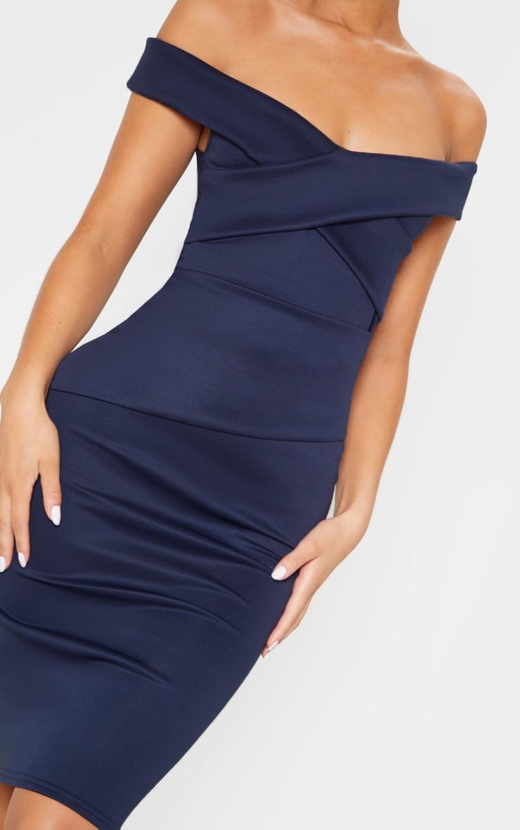 Midnight Blue Bardot Detail Midi Dress 5