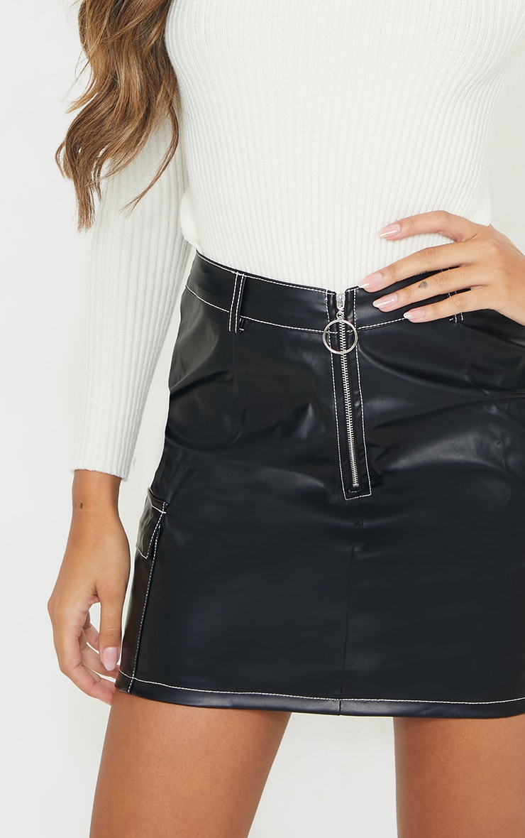 Black Faux Leather Contrast Stitch Mini Skirt 4