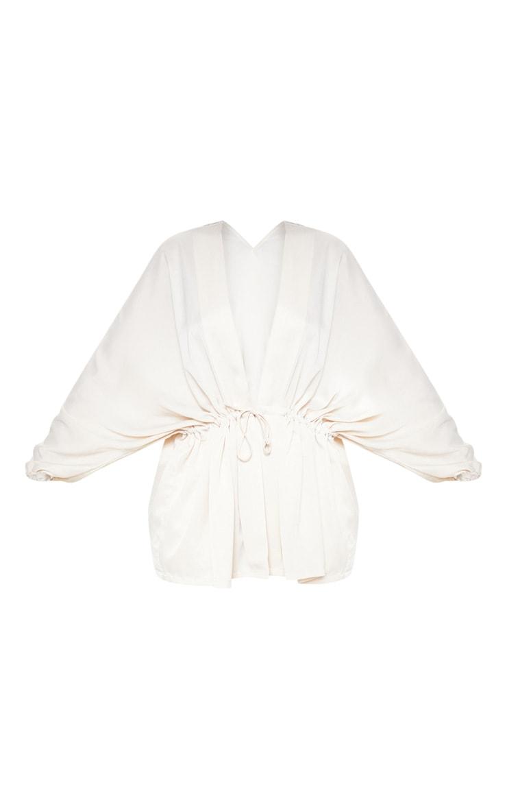 Plus Cream Textured Woven Tie Waist Blouse 3
