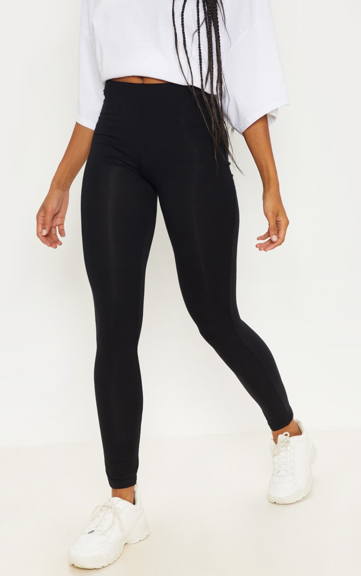 Basic Black Jersey Leggings 2