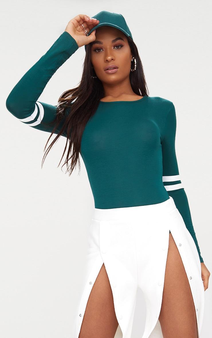 Green Jersey Sport Stripe Long Sleeve Bodysuit 1