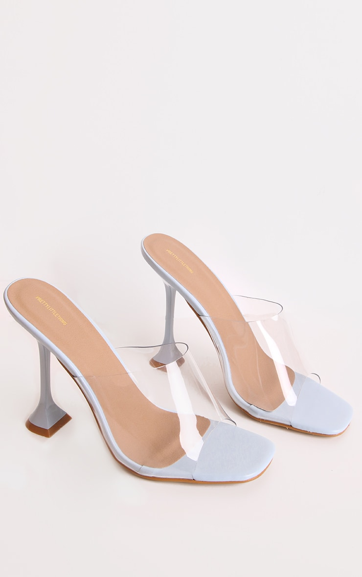 Blue Cake Stand Clear Heel Mules 1