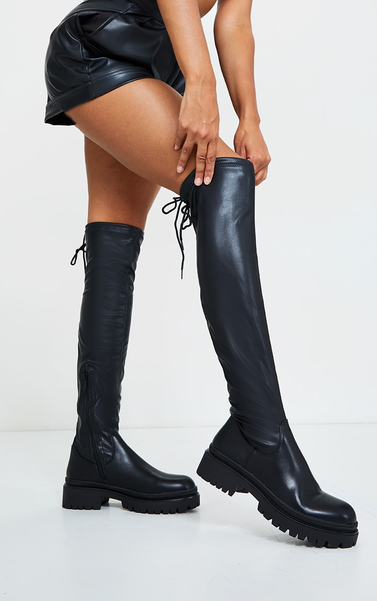 Black PU Over The Knee Chunky Boots 1